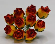 15mm RED YELLOW PINK HIP ROSE BUDS (L) Mulberry Paper Flowers